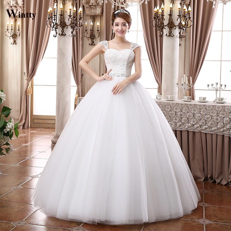 Wintty Vintage Boho Lace Straps Wedding Dresses Plus Size