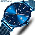 Мужские s часы CRRJU лучший бренд класса люкс водонепроницаемые ультра тонкие часы для свиданий мужские стальные ремешок повседневные кварце...