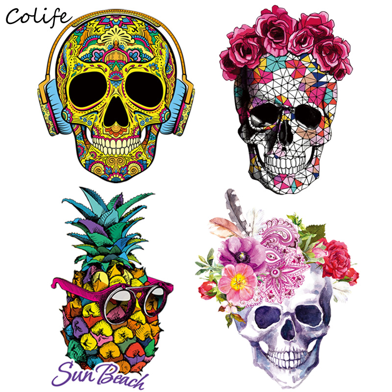 Fashion Pineapple Patches Skull Iron On Transfers Patch Decoration Stickers Applique Clothes for T-shirt West Coat 2pcs(China)