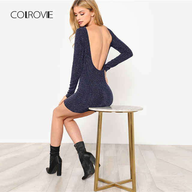 e48868a6000c COLROVIE Navy Solid Backless Low Back Ribbed Glitter Sexy Dress Women 2018  Autumn Long Sleeve Party Dress Evening Mini Dresses
