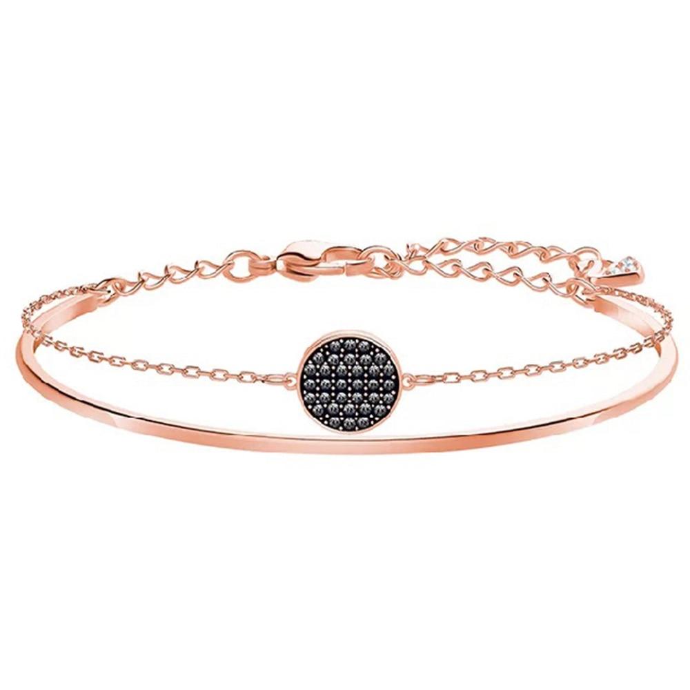 067462fa2717 2018 nueva moda Rosa oro pavé circón capa dos en uno pulsera joyería  femenina regalo para novia encantador envío gratis