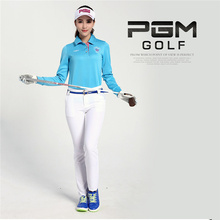 Outdoor Sport Long Sleeve Golf Shirt Collar Women Pure Cotton Polo Durable Elastic PGM Brand High Quality for Autumn 5 Colors