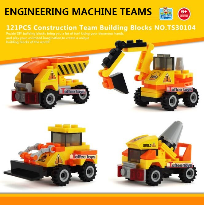 4pcs/lot City Engineering Construction Team Assemble Toy Excavator Small Particles Building Blocks Educational Toy ed-002
