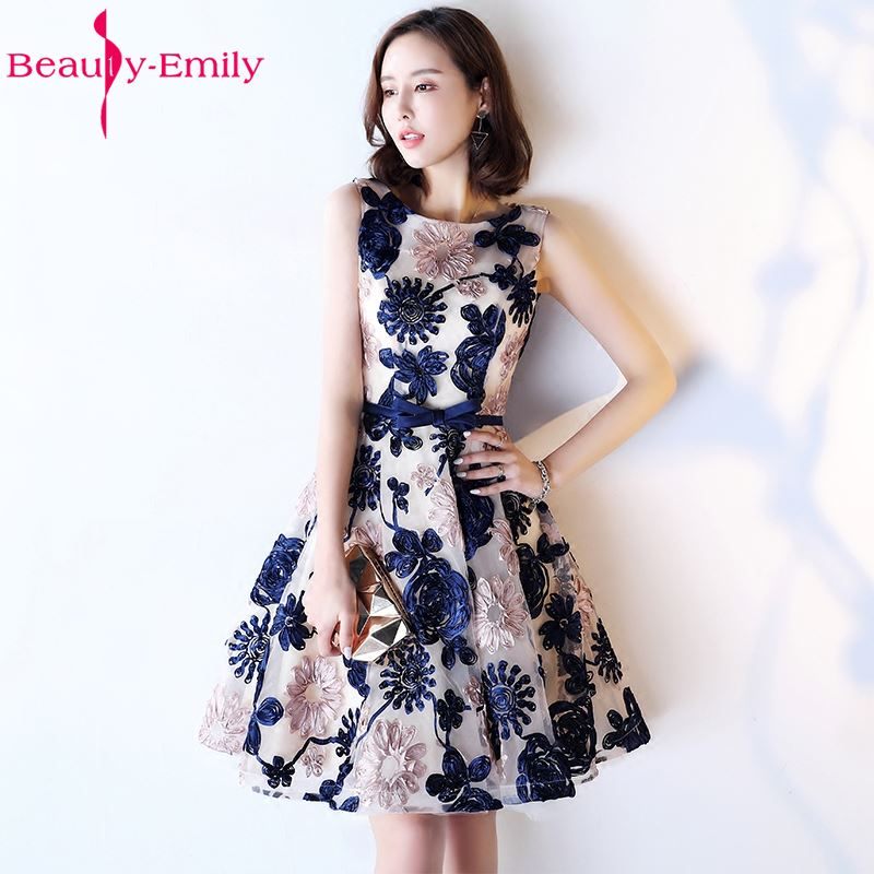 Beauty Emily New Fashions A-Line Short Sexy Party   Prom     Dresses   2018 Homecoming   Dresses   O-Neck Sleeveless Formal   Dresses