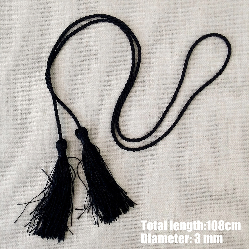 Black Rope with Tassels Gift Package Twisted Cords Wine Jars Rope 108 cm 80 cm Length 3mm Diameter Sell by 10 pcs per Bale