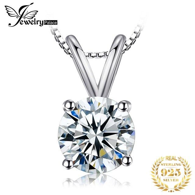 JewelryPalace Tròn Cổ Điển 1CT Giải Đơn Mặt Dây Chuyền Nữ Bạc 925 Trang Sức Nữ Phụ Kiện Không Bao Gồm một Dây Chuyền