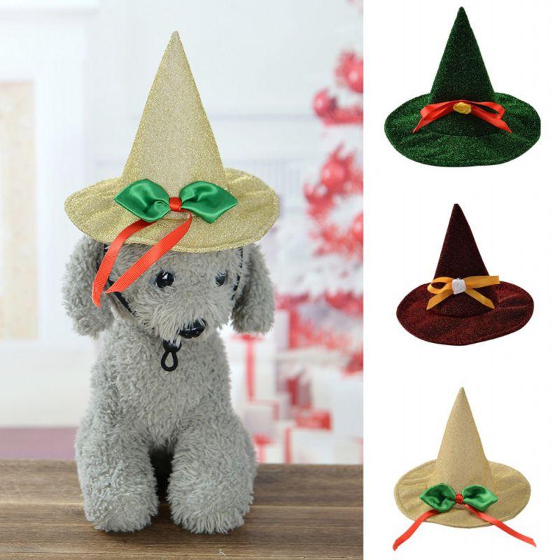 Хэллоуин шляпа ведьмы собаки кошки Симпатичные Косплэй шляпа с бантом для Хэллоуина вечерние декор Хэллоуин для домашних животных для мало...