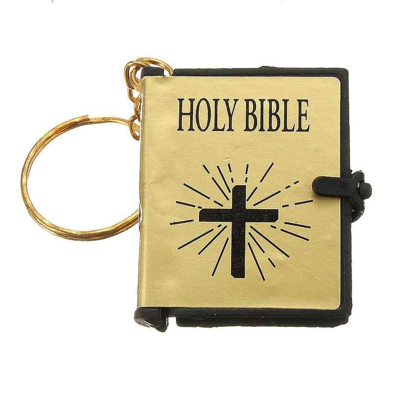 Religione portachiavi regalo di preghiera dio benedica versione Inglese di piccola dimensione sacra bibbia catena chiave libro portachiavi christian gesù anello chiave