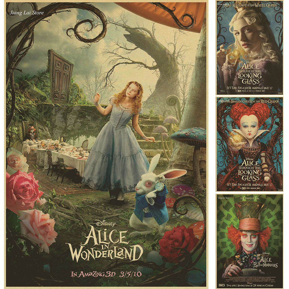 alice in wonderland retro movie poster kraft paper decorative painting core comic mural. Black Bedroom Furniture Sets. Home Design Ideas