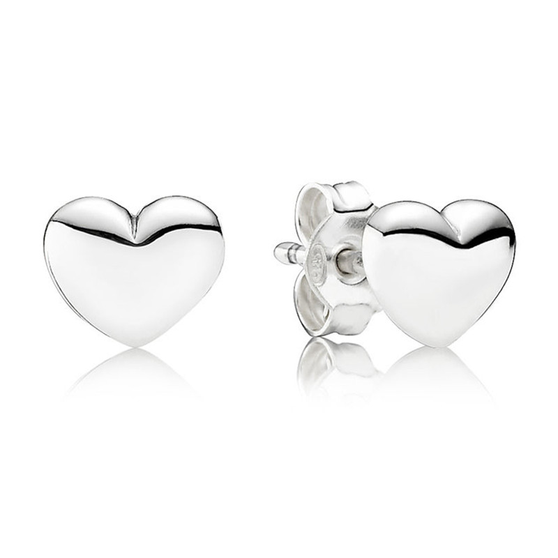 2019 New Trendy 925 Sterling Silver Pans String Of Beads Heart Hanging Earring Studs For Women Fine DIY Jewelry Birthday Gift in Stud Earrings from Jewelry Accessories