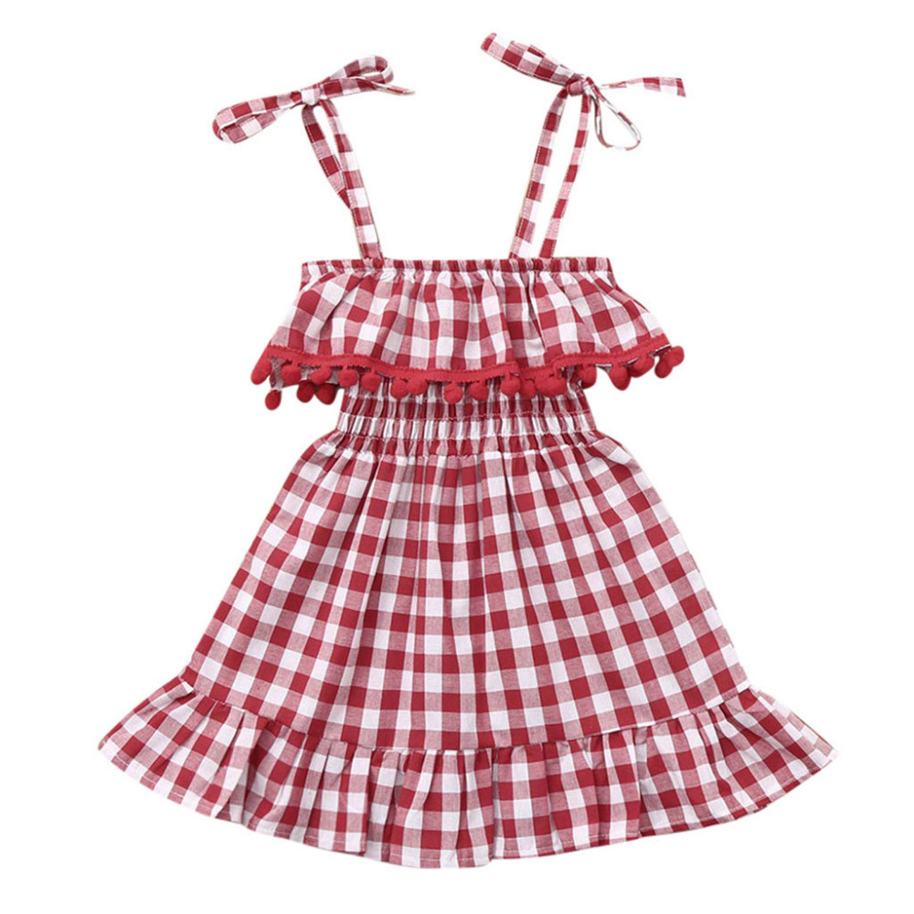 Birthday Party Dress Casual Summer Princess Dress For Kids baby Girls Cotton Sleeveless Condole Belt Tassel Plaid Dresses k0302Birthday Party Dress Casual Summer Princess Dress For Kids baby Girls Cotton Sleeveless Condole Belt Tassel Plaid Dresses k0302