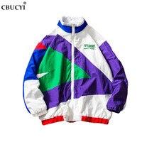 2019 Japan Harajuku jacket retro color stitching full zip windbreaker jacket spring fashion casual street wind jacket M 5XL