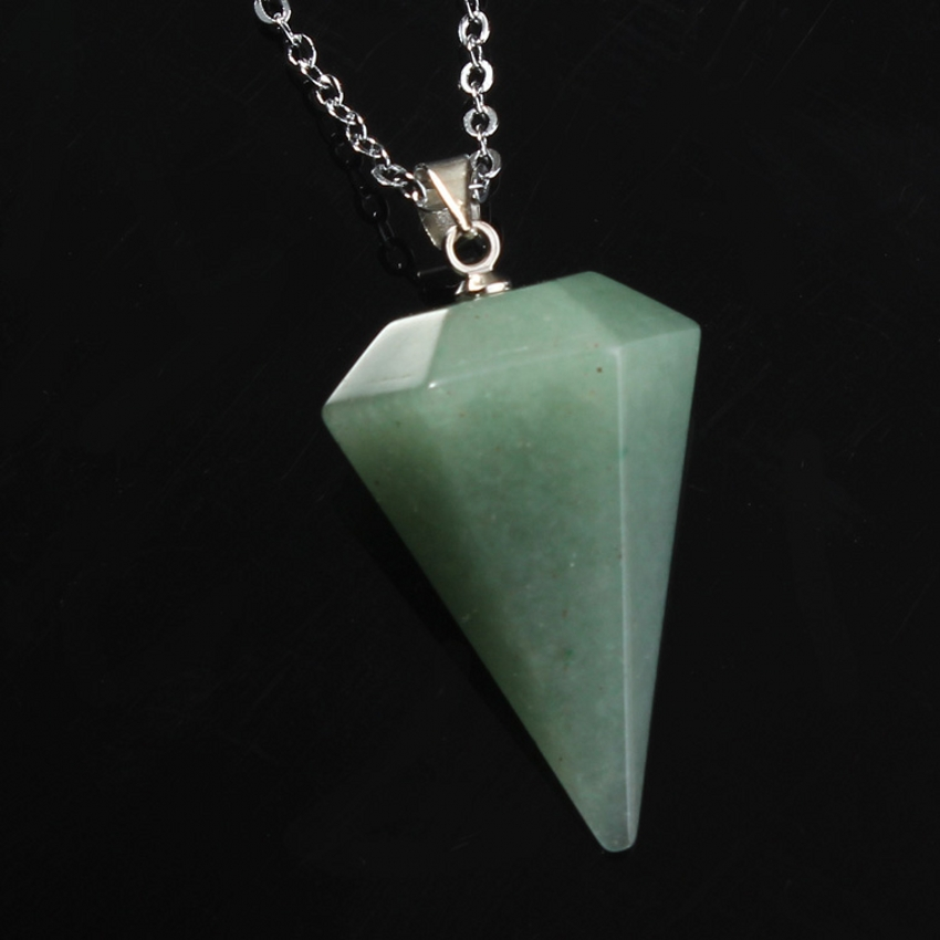 100 Unique Natural Green Aventurine Hexagon Pyramid Reiki Pendulum Pendant Charms Healing Chakra Amulet Jewelry in Pendants from Jewelry Accessories