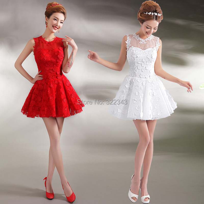 2015 vogue red white lace short ball gown appliques mini for Short red and white wedding dresses