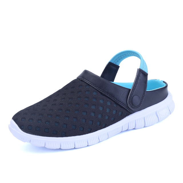 e1958a882fff5 2018 New Breathable Men Mesh Lighted croc Shoes Outdoor Slip On Shoes Beach  Flip Flops Men s Summer Shoes Sandals half slipper