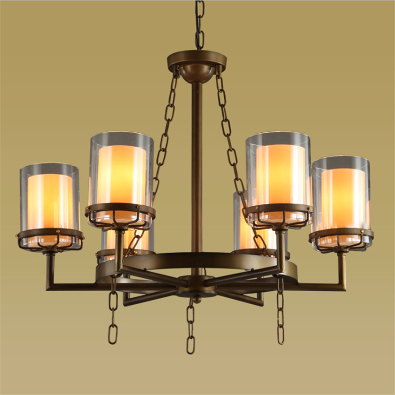 6/8 Heads American Style Iron Glass Shade Chandelier Creative Personality Retro Cafe Bar Livingroom Restaurant Lamp FreeShipping contemporary and contracted creative personality retro art glass chandelier cafe restaurant study lamps act the role of milan