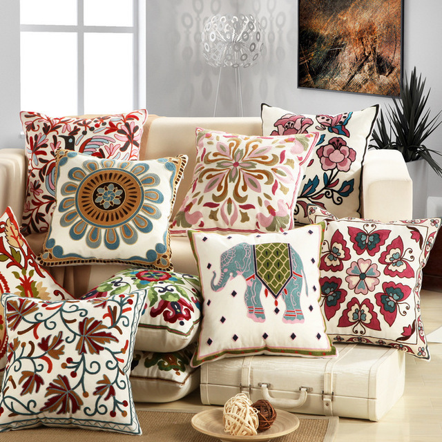 1Pcs Embroidery Elephant Flower Pattern Cotton Pillow Cushion Cover Home Decor S