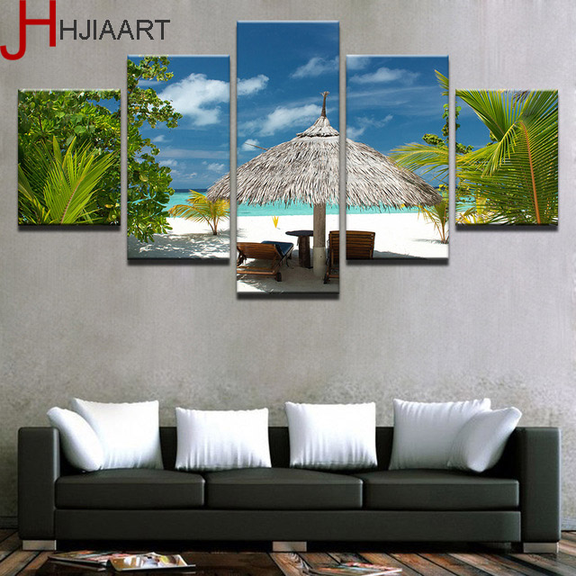 HJIAART Canvas Paintings Wall Art HD Prints 5 Pieces Tropical Island Pictures Palm Trees Beach Seascape Poster Home Decor Framed