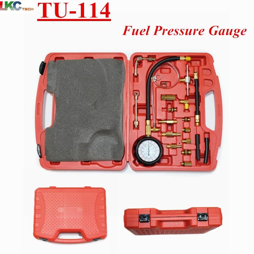 Цена за Новинка TU-114 топлива Давление тестер Давление датчик для топливный насос тестер комплект Авто диагностики Инструменты комплект бесплатная доставка DHL