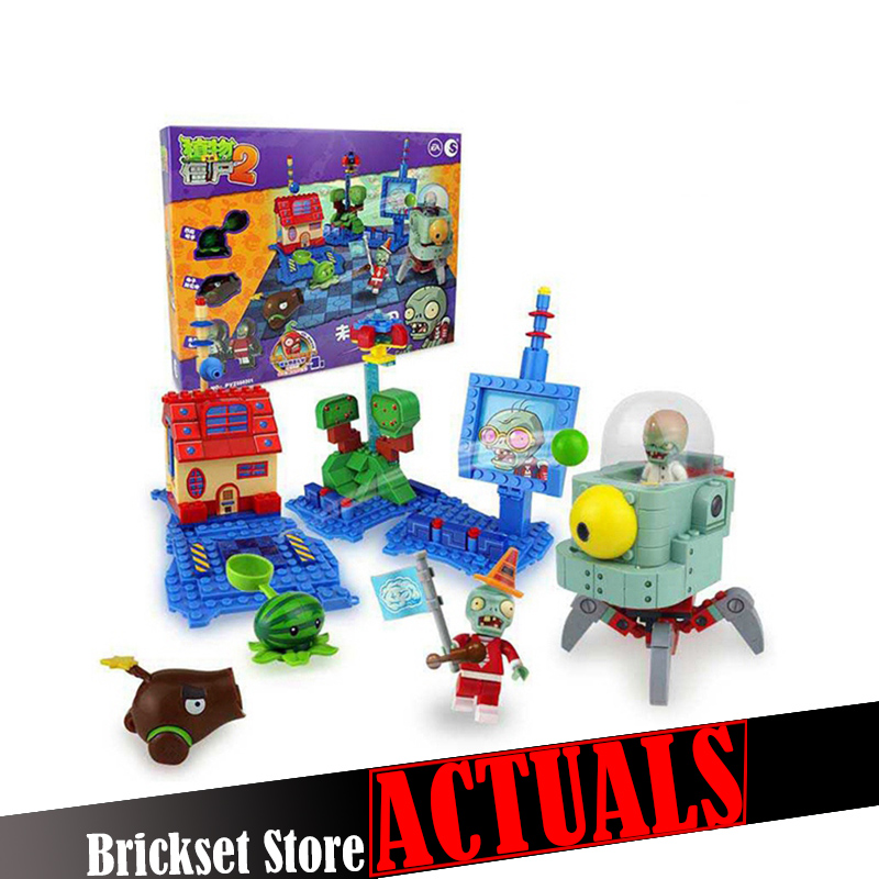 Plants vs Zombies 050301 Future World Building Bricks Blocks anime action figures My world Minecraft Toys for children gifts