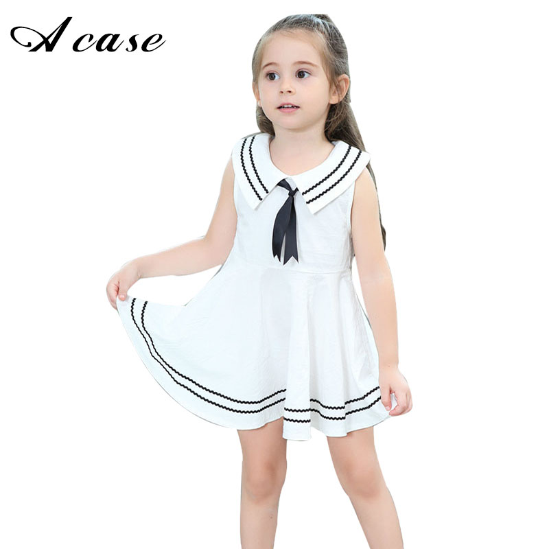 2018 New Girl Solid Cotton Dress Bow Tie Striped Children Clothing Naval Style Little Girls Sleeveless Dresses for Kids 1-8 Year