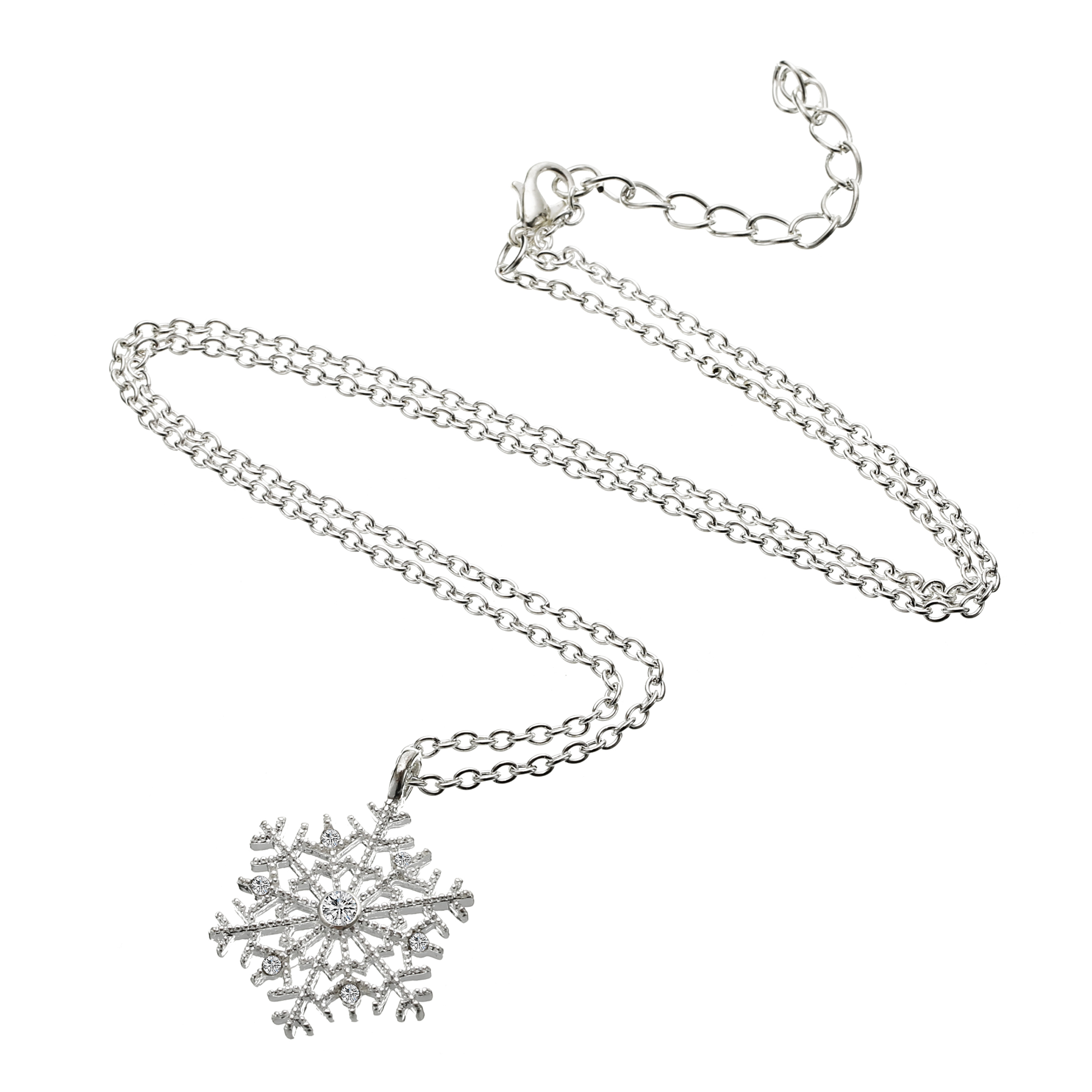 New Year Christmas Gift Fashion Luxury Silver Plated Snowflake Necklace Pendants Snow Flower Chain Necklace Jewelry for Women