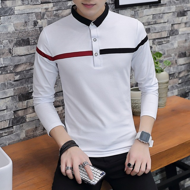 Casual Autumn Winter Polo Shirt Men Patchwork Long Sleeve Polos Slim Fit  Polo Homme