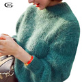Lace Girl 2017 New Women Sweaters Autumn Winter Half-height Collar Mohair Sweater Ladies Thicken Lantern Sleeve Loose Pullover