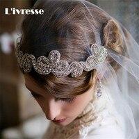 Bridal Wedding Veil 2017 Bride Hair Accessory Veil Headband Bridal Veils Lace Edge Appliqued With Crystal