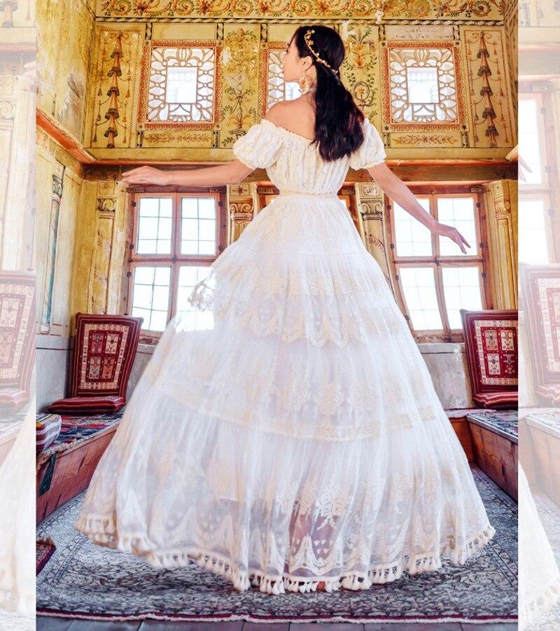 2019 été maille dentelle broderie vacances grand Swing longue robe femmes décontracté hors de l'épaule blanc longues robes Vestidos - 5