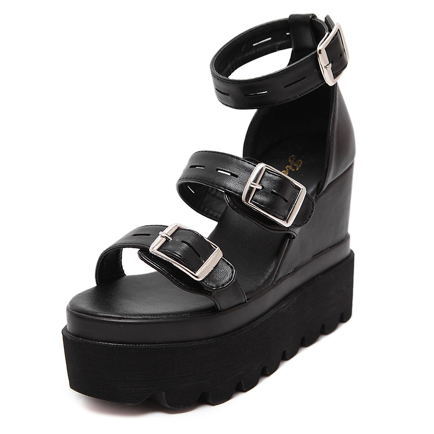 2017 Women Wedges Sandals High Heel Platform Summer Shoes Soft Leather Casual Buckle Open Toe Platform Shoes Woman Sandals 2017 summer shoes woman platform sandals women soft leather casual open toe gladiator wedges trifle mujer women shoes b2792