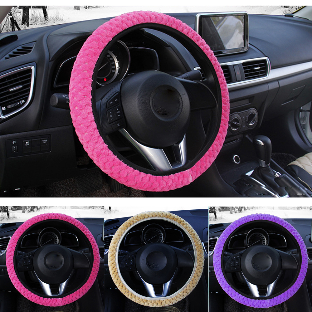 Winter Car Steering Wheel Cover Warm Auto Decoration Steer Protection Pearl Velvet Car-styling Universal Soft Plush Steer Covers