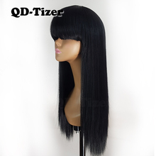 QD Tizer Black Color Synthetic Silk Base Wigs with Bangs Heat Resistant Fiber Hair Long Straight Lace Wigs Hot Sell for Women