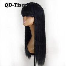 Qd tizer cor preta perucas de base de seda sintéticas com franja resistente ao calor do cabelo de fibra longas perucas de renda reta venda quente para mulher