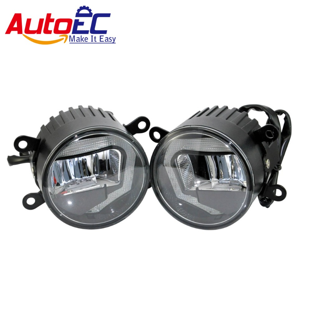 AutoEC 10set 2 in 1 6000k 10w LED Car Auto Fog Light Daytime Running Light DRL DC12-24V Universal for Cars Wholesale #LM145 multicolored led auto wheels light 2 set