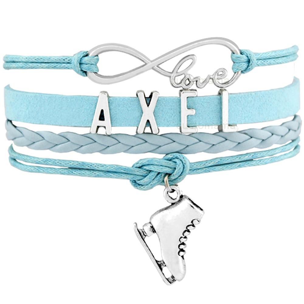 Axel Flip Salchow Loop Jump Lutz Toe Loop Figure Skating Skate Sports Infinity Charm Bracelets Women Men Girl Boy Unisex Jewelry