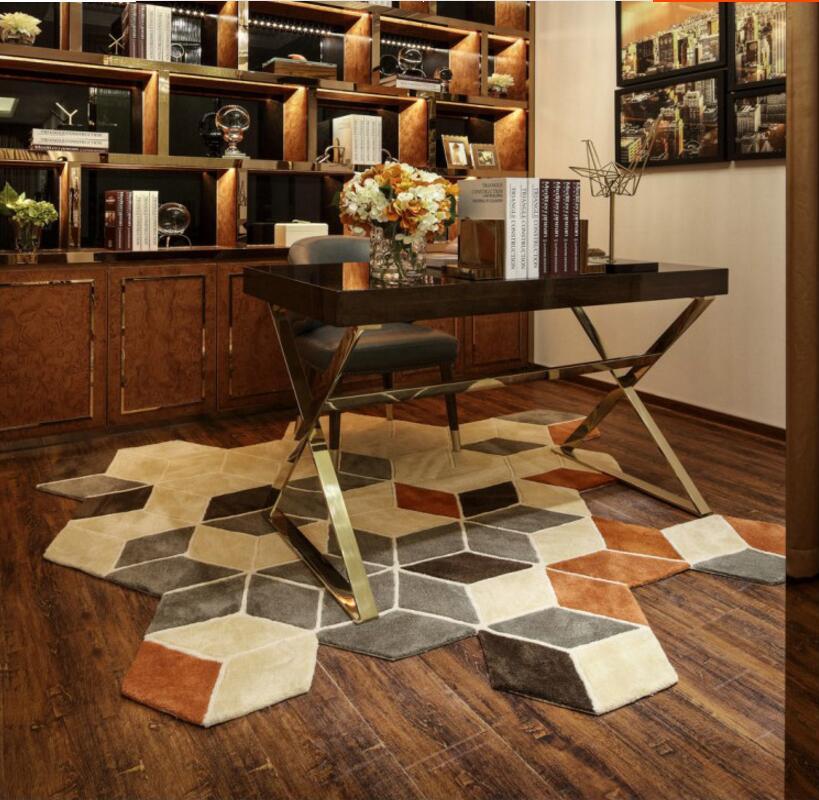 В форме ковров и ковров для гостиной коврик ручной работы акриловый Европейский современный спальня журнальный столик диван
