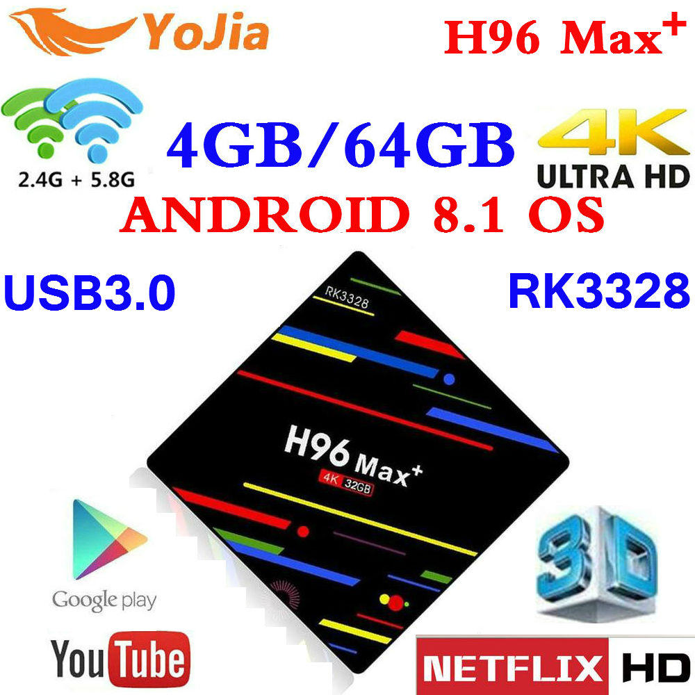 Neue 4 gb Smart TV Box Android 8.1 RK3328 H96 MAX Plus 4 karat set top box Option 2,4g/ 5g Dual WIFI Media player PK H96 Pro Max + H2 H1
