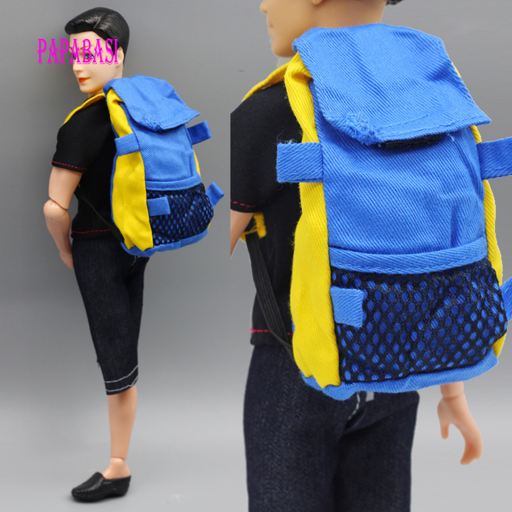1pcs Blue Doll Knapsack Marines Accessories Bag For Barbie Boy Male Ken Doll For Lanard 1/6 Soldier Backpack Best Gift s-069