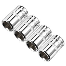 Uxcell 4Pcs 1/4-inch Drive 10mm Cr-V 6-Point Shallow Socket for Heavy-duty Pneumatic Tools Hot Sale