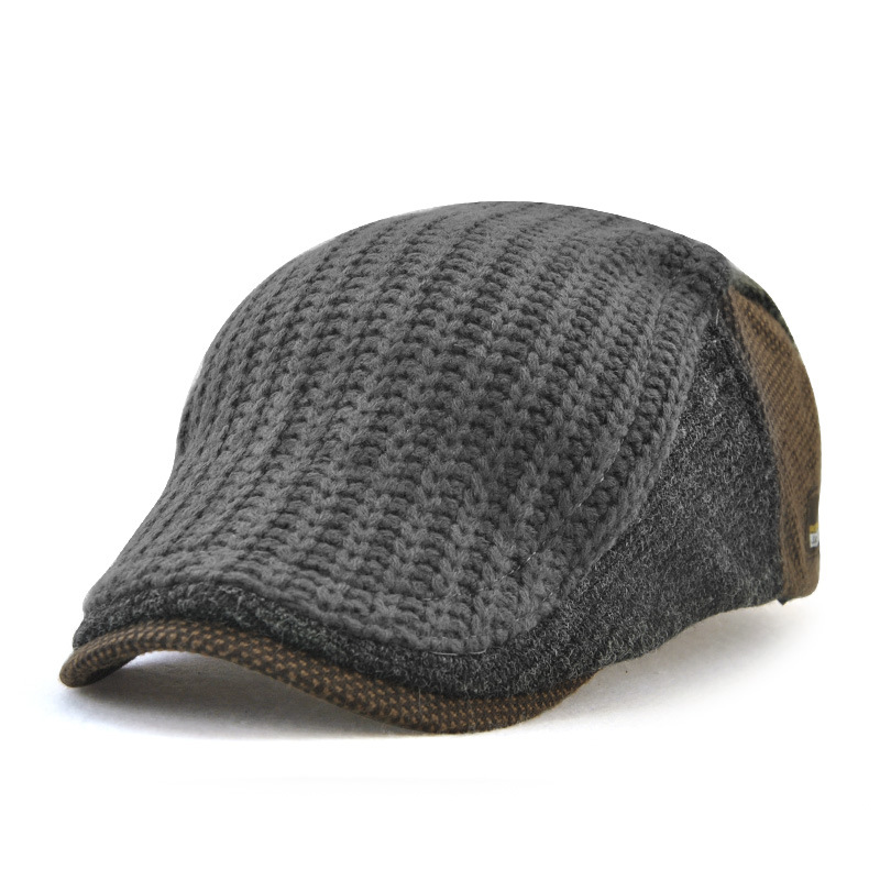 Men's Newsboy Caps Autumn Winter Trends Knitted Hat Warm Middle Age Cap
