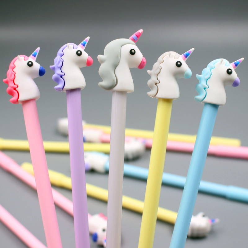 2Pcs 0.5mm Gel Pen Unicorn Pen Stationery Kawaii School Supplies Gel Ink Pen School Stationery Office Suppliers Pen Kids Gifts 12pcs set gel pen color pen stationery tools school supplies gel ink pen school stationery office suppliers pen kids gift office