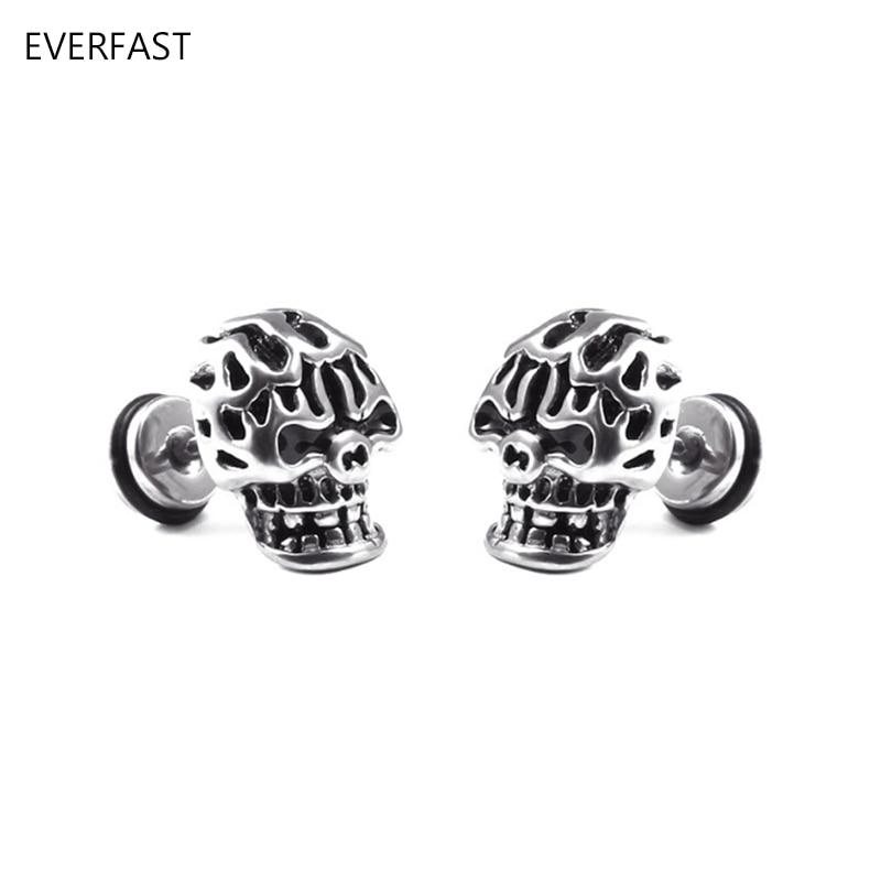 1 Piece New Anti-allergy Retro 3D Gothic Skull Ear Stud Stainless Steel Dumbbell Stud Earrings For Men Women Halloween