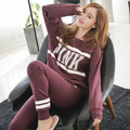 Pyjamas Women 2016 Autumn Winter Striped Pink Letter Print  Long Sleeve Blouse Long Pants Sleepwear pyjama femme S50