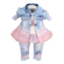 Купить с кэшбэком Toddler girl clothes 2019 Spring Autumn fashion children clothing set kids baby cowboy clothes sets denim jacket +girls jeans