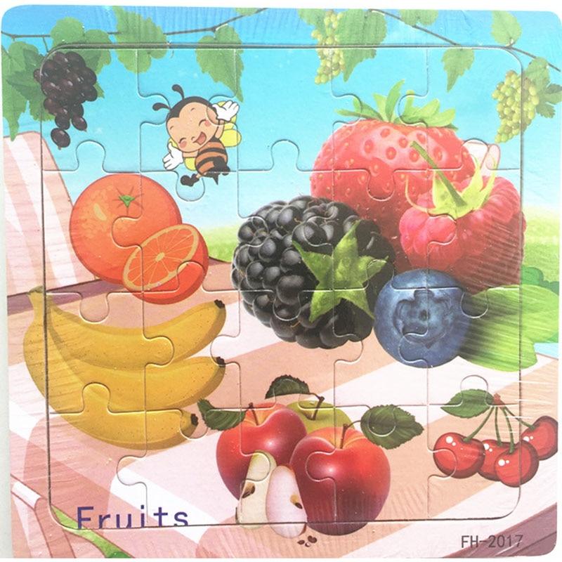Деревянные пазлы игрушки 20 шт. дети радость Превосходное качество головоломки деревянные Мультяшные животные Развивающие головоломки игрушки для детей - Цвет: 21