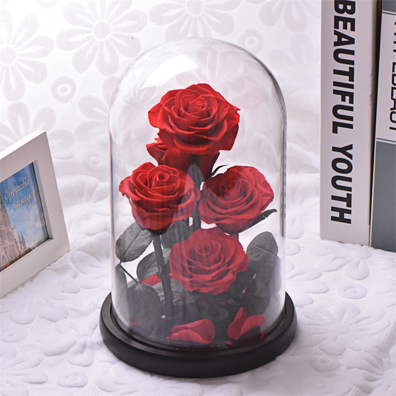 5pcs Red Rose Beauty And The Beast Artificial Decoration Rose Flowers in Glass Dome Black Base For Wedding Mother's Day Gift