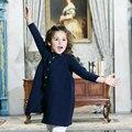 Niña Sola Rebeca Breasted 2016 Nuevos 2-8 Años de Muchacha Otoño Invierno Suéter Largo Sólido de La Manera de Los Niños Suéter de la capa