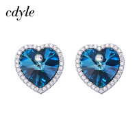 Cdyle Crystals From Swarovski Dangle Earrings Women Earring Luxury Blue Heart Fashion Jewelry Elegant Austrian Rhinestone