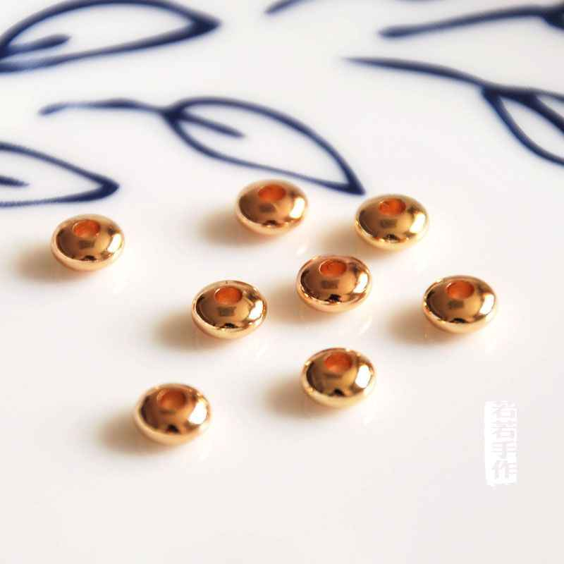 10 шт./партия позолоченный диск rondelle spacer 4 мм/5 мм/6 мм свободные бусины ожерелье самодельное шнур кожаный ювелирный